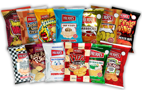 Herr S Assorted Potato Chips Case 1oz Bags 84 Count